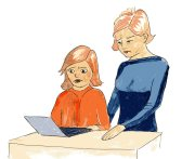 Lucy and her mum stare at the computer and read the unkind words
