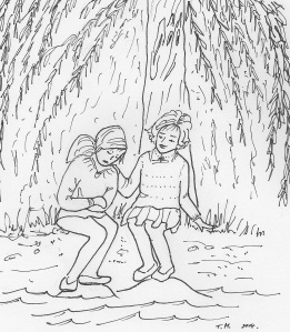 The two girls sat beneath the willow tree 4
